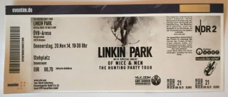 """Unbenutztes TICKET - LINKIN PARK - """"The Hunting Party Tour"""" - 2014 - Bremen"""