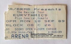 EURYTHMICS - benutztes Ticket - Birmingham - Sep. 1989