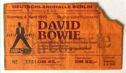 """Ticket - DAVID BOWIE - """"Sound & Vision - Tour 1990"""" - Berlin"""